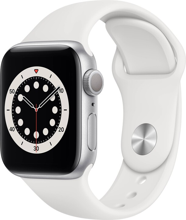 Apple Watch Series 6, 40mm, Silver, White Sport Band