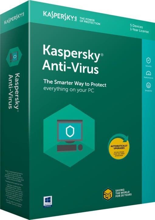 Kaspersky Anti-Virus 2018 CZ pro 5 zařízení na 24 měsíců, obnovení licence