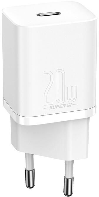 Baseus síťová nabíječka Super Si, USB-C, PD, 20W, bílá + kabel USB-C - Lightning, M/M, 1m