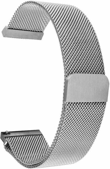 Tactical 640 magnetický kovový řemínek Loop pro Samsung/Amazfit/Garmin, 44mm, stříbrná