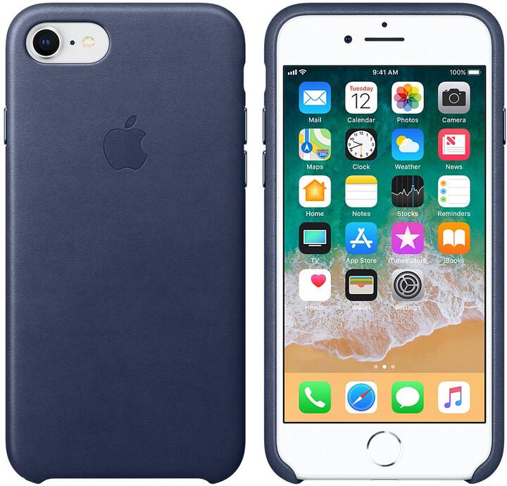 Apple kožený kryt na iPhone 8/7, půlnočně modrá