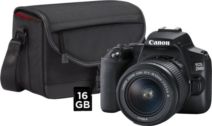 Canon EOS 250D + 18-55mm f/3.5-5.6 III + CB-SB130 + 16GB