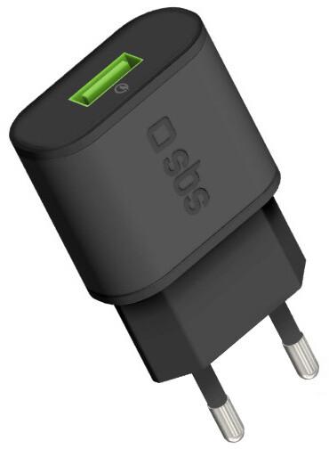 SBS Cestovní nabíječka s rychlým nabíjením, USB 3.0, 100/250V, černá