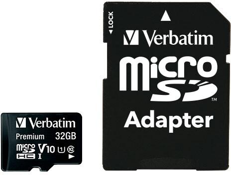 Verbatim MicroSDHC 32GB (Class 10) + SD adaptér
