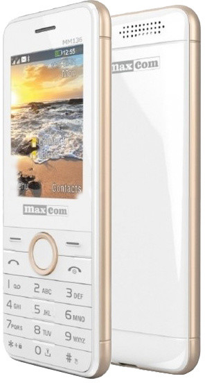 Maxcom MM136, Dual Sim, bílá/zlatá