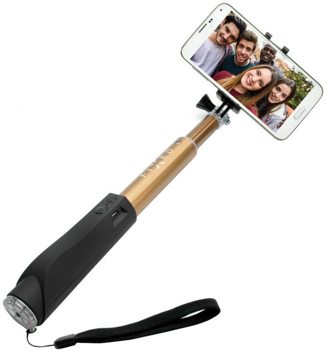 FIXED teleskopický selfie stick v luxusním hliníkovém provedení s BT spouští, zlatý
