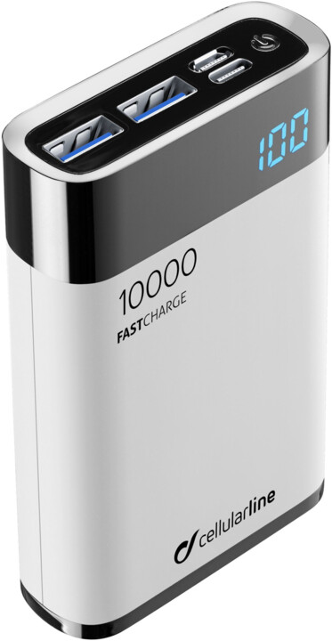 CellularLine FREEPOWER MANTA HD powerbanka 10000mAh, USB-C + 2x USB port, bílá