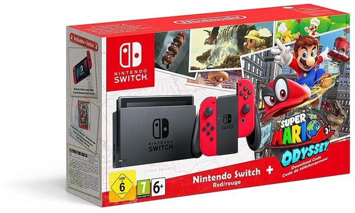 Nintendo Switch, červená + Super Mario Odyssey
