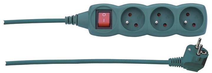 Emos prodlužovací kabel s vypínačem 3 zásuvky 3m, zelená