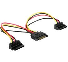 Gembird CABLEXPERT kabel SATA napájecí na 2x SATA 90°, rozdvojka, 15cm - CC-SATAM2F-02