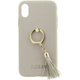 GUESS Saffiano Ring zadní kryt pro iPhone X, Beige