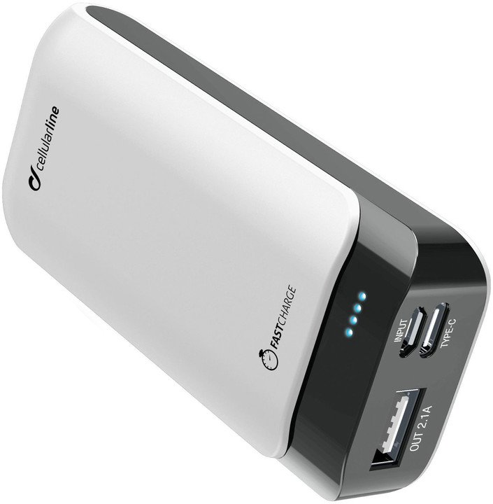 CellularLine Prémiová powerbanka PowerUp s Usb-C, 5200mAh, bílá