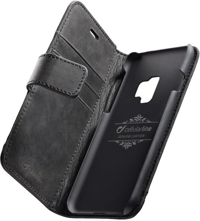 CellularLine prémiové kožené pouzdro typu kniha Supreme pro Samsung Galaxy S9, černé