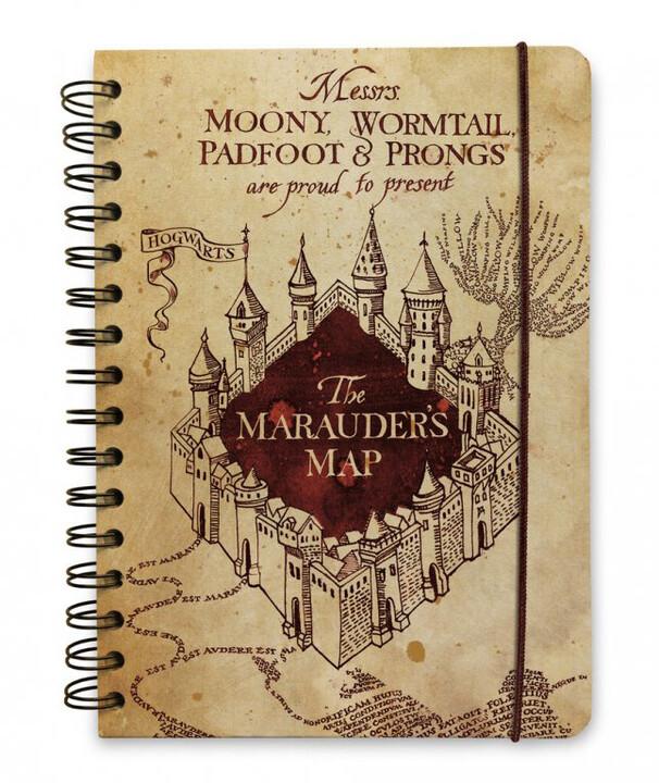 Poznámkový blok Harry Potter - The Marauders Map, bez linek, kroužková vazba, A5