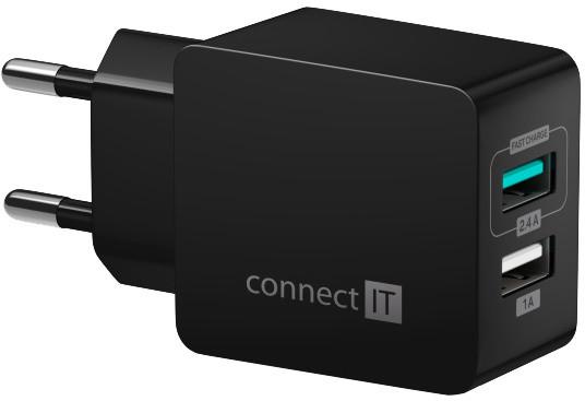CONNECT IT Fast Charge nabíjecí adaptér 2×USB-A, 3,4A, černá