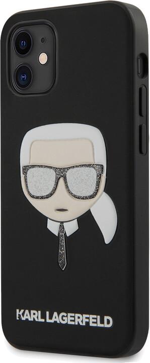 """KARL LAGERFELD ochranný kryt Liquid Glitter Head pro iPhone 12 Mini (5.4""""), černá"""