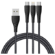 Mcdodo Peacock 3v1 Lightning + Micro USB + Type-C kabel s LED 1.2m, šedá