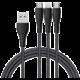 Mcdodo Peacock 3v1 Lightning + Micro USB + Type-C kabel s LED 1.2m, šedá