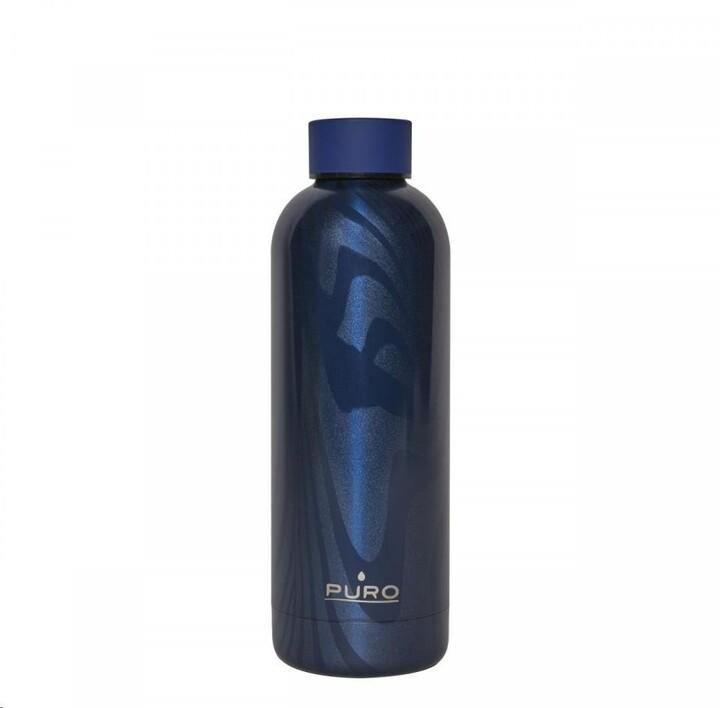Puro OPTIC STRIPE láhev z nerezové oceli, double wall, 500ml tmavě modrá