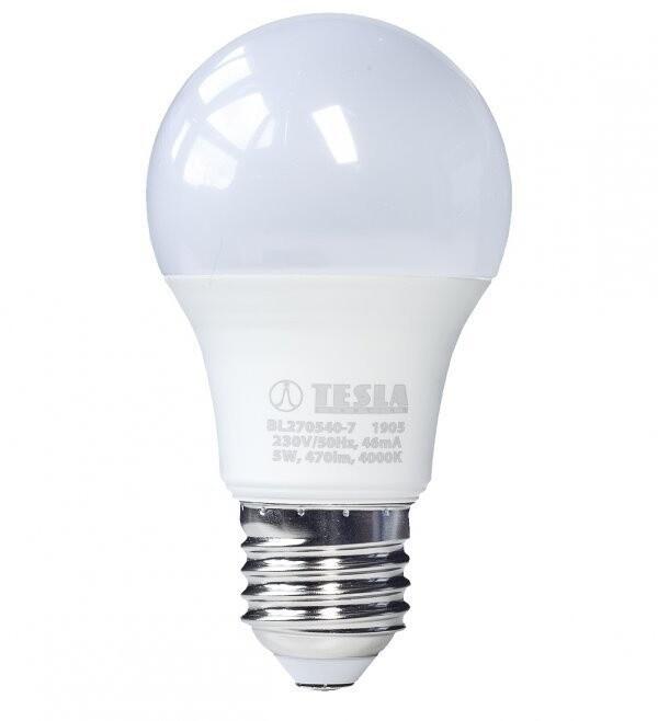 TESLA LED žárovka BULB, E27, 5W, 4000K, denní bílá