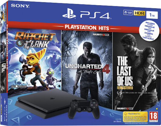 PlayStation 4 Slim, 1TB, černá + PS Hits (The Last of Us, Uncharted 4, Ratchet and Clank)