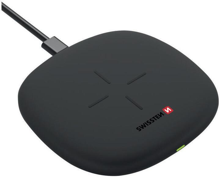 SWISSTEN bezdrátová nabíječka, 10W, černá + USB-C kabel