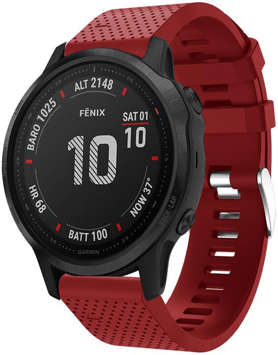 MAX silikonový řemínek MGS10 pro Garmin, 20mm, červená