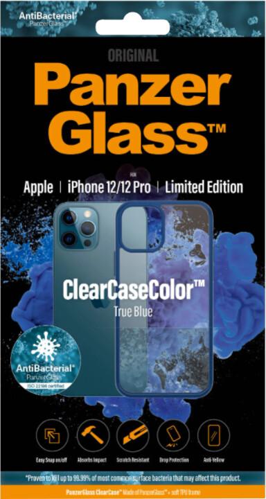 PanzerGlass ochranný kryt ClearCase pro iPhone 12/12 Pro, antibakteriální, modrá