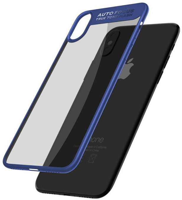 Mcdodo iPhone X Dual Clear Bumper Case (PC+ TPU), Blue