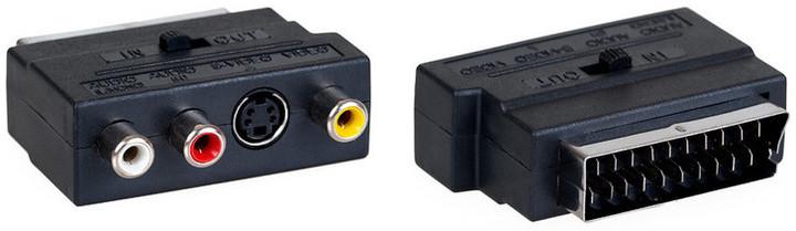 AQ přechodka SCART - 3x RCA (cinch) AV + S-video - vstup/výstup