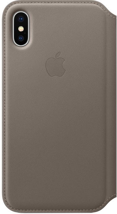 Apple kožené pouzdro Folio na iPhone X, kouřová