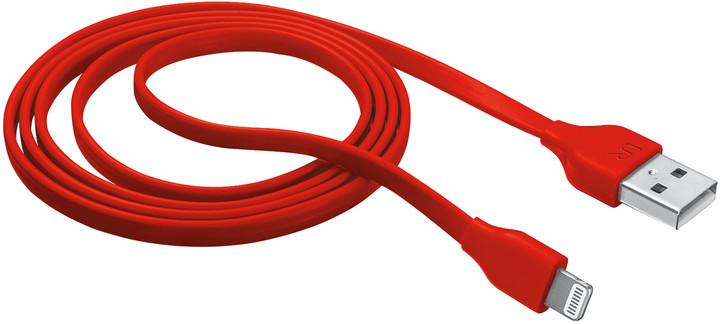 Trust Flat Lightning kabel 1m, červená
