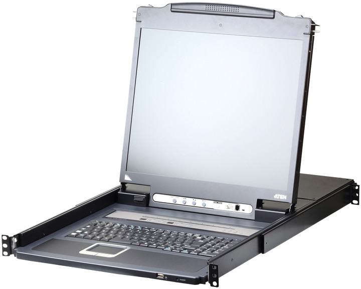 """ATEN CL5708I - 8-portový KVM switch (PS/2, USB i VGA) přes IP, 17"""" LCD, UK klávesnice"""