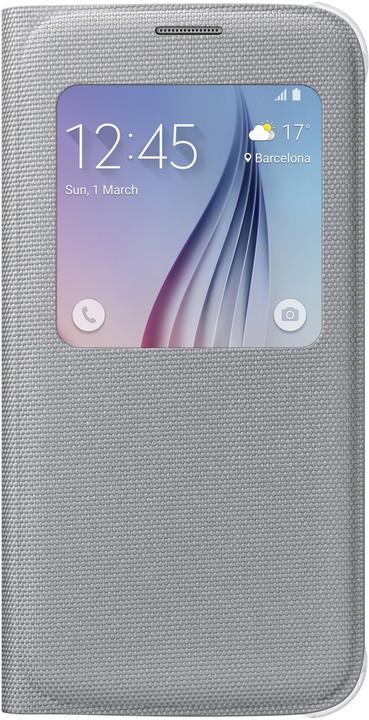 Samsung pouzdro S View EF-CG920B pro Galaxy S6 (G920), stříbrná