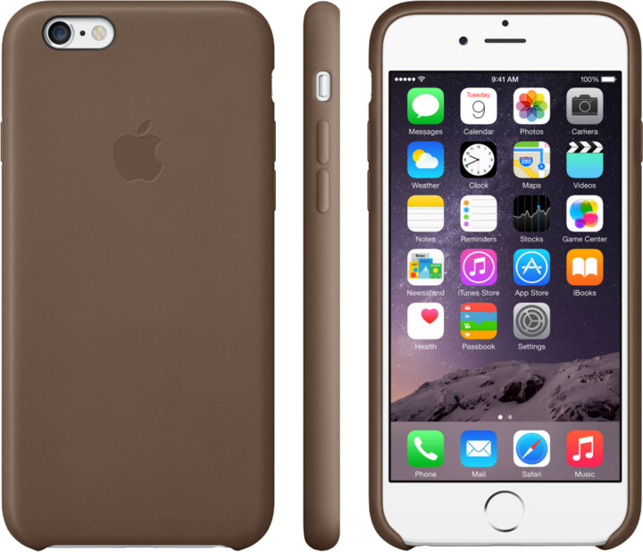 Apple Leather Case pouzdro pro iPhone 6 Plus, hnědá