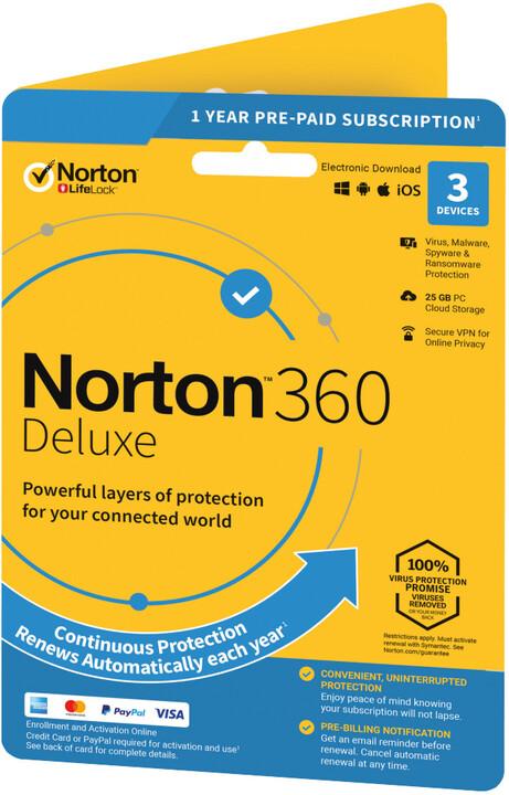 Symantec Norton 360 Deluxe 25GB + VPN 1 uživatel, 3 zařízení, 1 rok