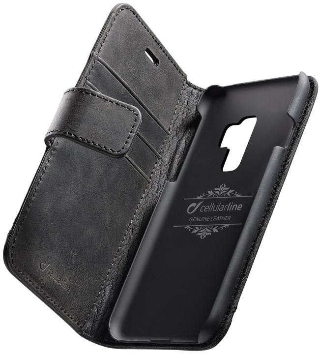 CellularLine prémiové kožené pouzdro typu kniha Supreme pro Samsung Galaxy S9 Plus, černé