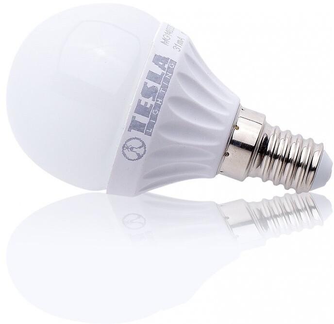 TESLA LED žárovka miniglobe BULB, E14, 3W, 3000K, teplá bílá