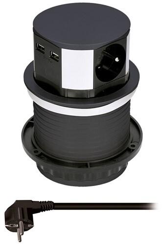 Solight USB výsuvný blok zásuvek, 3 zásuvky, 2x USB, kruhový tvar, prodlužovací přívod 1.5m, černá
