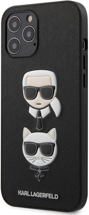 Karl Lagerfeld ochranný kryt Saffiano K&C Heads pro iPhone 12 Pro Max, černá