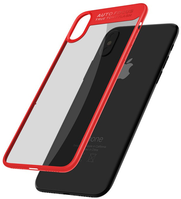 Mcdodo iPhone X Dual Clear Bumper Case (PC+ TPU), Red