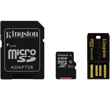 Kingston Micro SDXC 64GB Class 10 + SD adaptér + USB čtečka