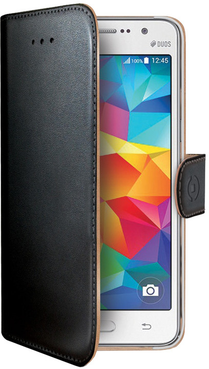CELLY Wally pouzdro pro Samsung Galaxy Grand Prime, PU kůže, černá