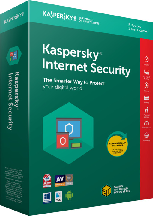 Kaspersky Internet Security multi-device 2018 CZ pro 1 zařízení na 12 měsíců, obnovení licence