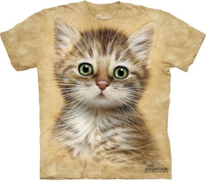 Tričko The Mountain Brown Striped Kitten, béžová (US XL / EU XXL)