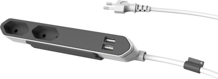 PowerCube POWERBAR USB, 2 zásuvka, šedá
