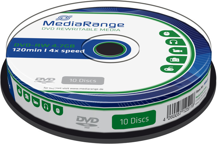 MediaRange DVD-RW 4,7GB 4x, Spindle 10ks
