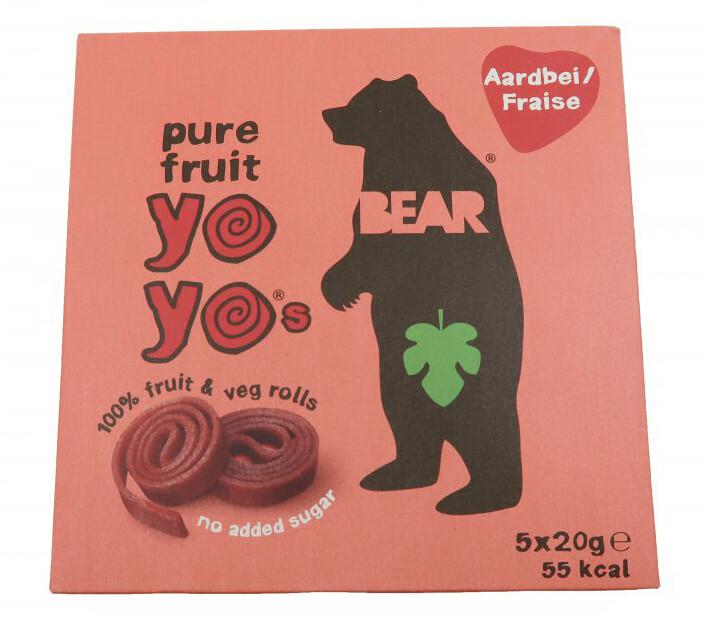 YOYO BEAR Ovocné Rolky Jahoda, 5x20 g