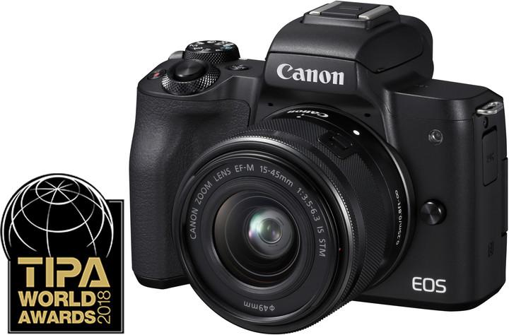 Canon EOS M50, černá + EF-M 15-45mm IS STM