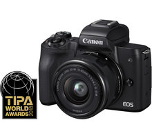Canon EOS M50, černá + EF-M 15-45mm IS STM Ponožky se vzorem - velikost 38 - 42 v hodnotě 219 Kč + Získejte zpět 800 po registraci